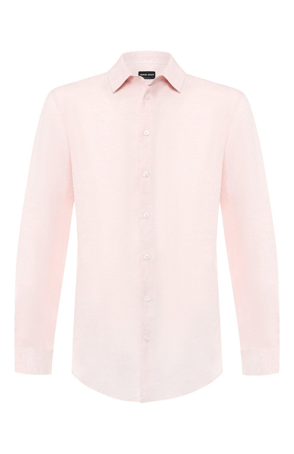 Мужская льняная рубашка GIORGIO ARMANI кораллового цвета, арт. 8WGCCZ97/TZ243   Фото 1