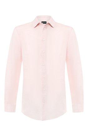 Мужская льняная рубашка GIORGIO ARMANI кораллового цвета, арт. 8WGCCZ97/TZ243 | Фото 1