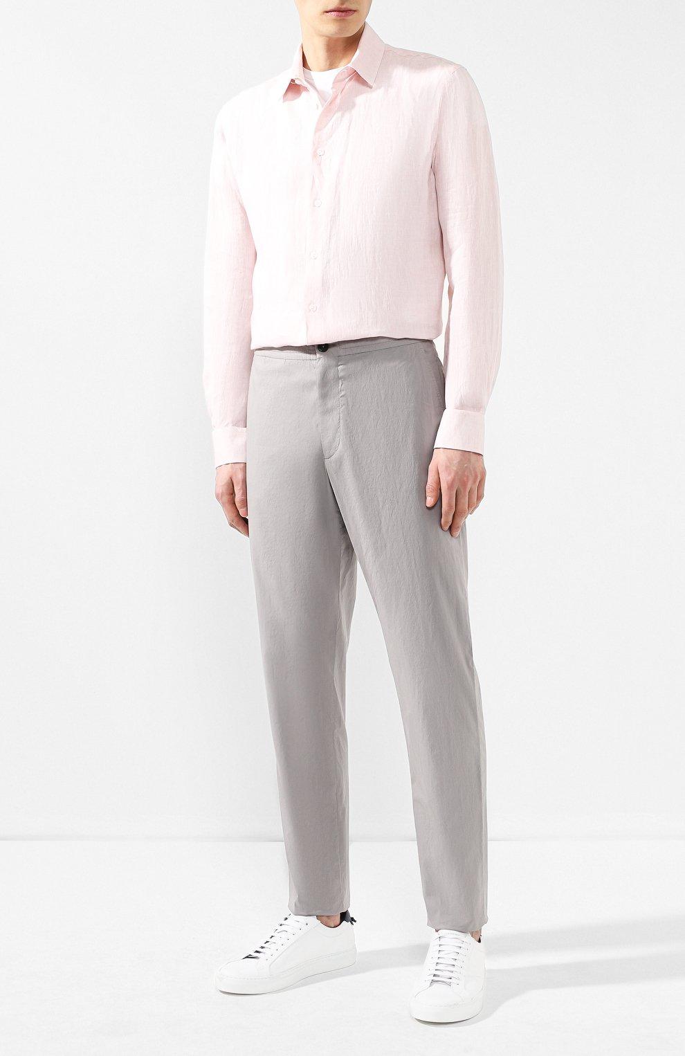 Мужская льняная рубашка GIORGIO ARMANI кораллового цвета, арт. 8WGCCZ97/TZ243   Фото 2