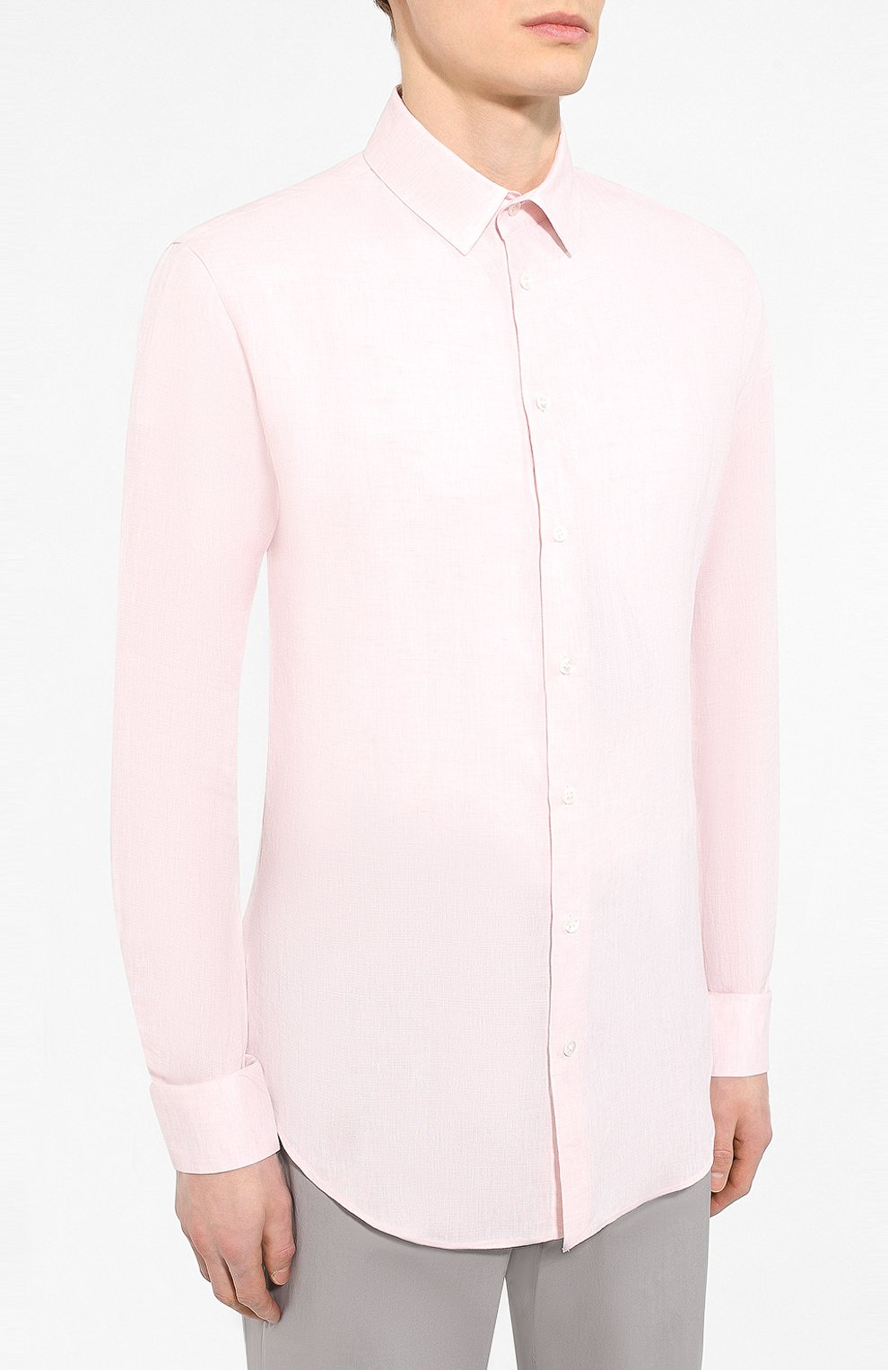 Мужская льняная рубашка GIORGIO ARMANI кораллового цвета, арт. 8WGCCZ97/TZ243   Фото 3