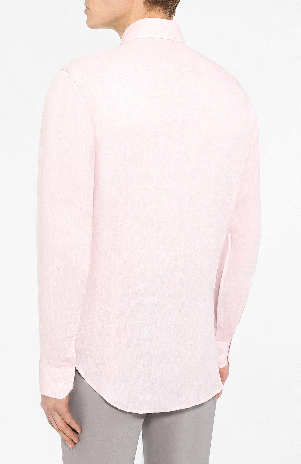 Мужская льняная рубашка GIORGIO ARMANI кораллового цвета, арт. 8WGCCZ97/TZ243   Фото 4