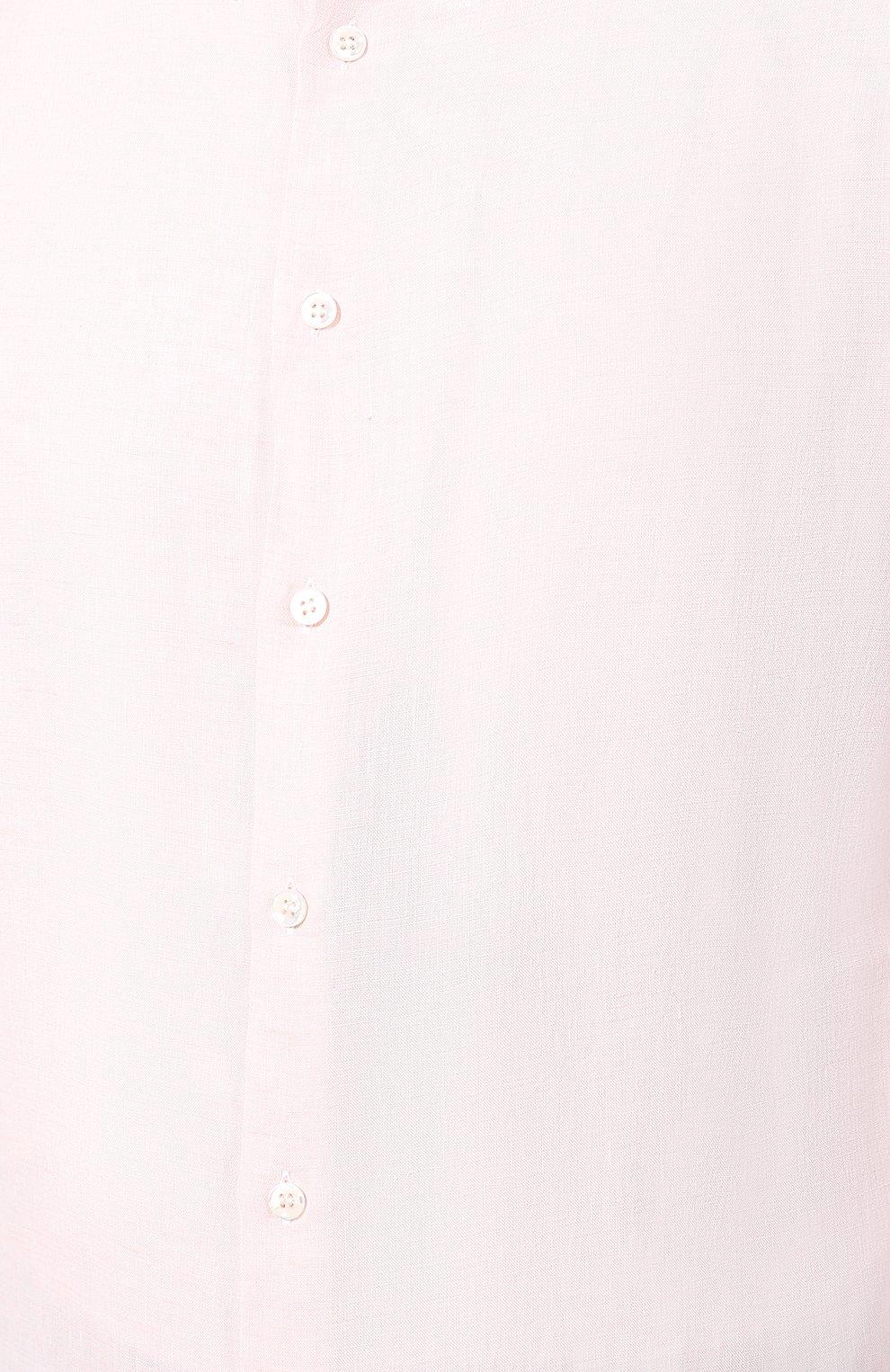 Мужская льняная рубашка GIORGIO ARMANI кораллового цвета, арт. 8WGCCZ97/TZ243   Фото 5