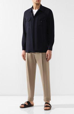 Мужские брюки из вискозы и льна GIORGIO ARMANI бежевого цвета, арт. 9SGPP03M/T00JJ   Фото 2