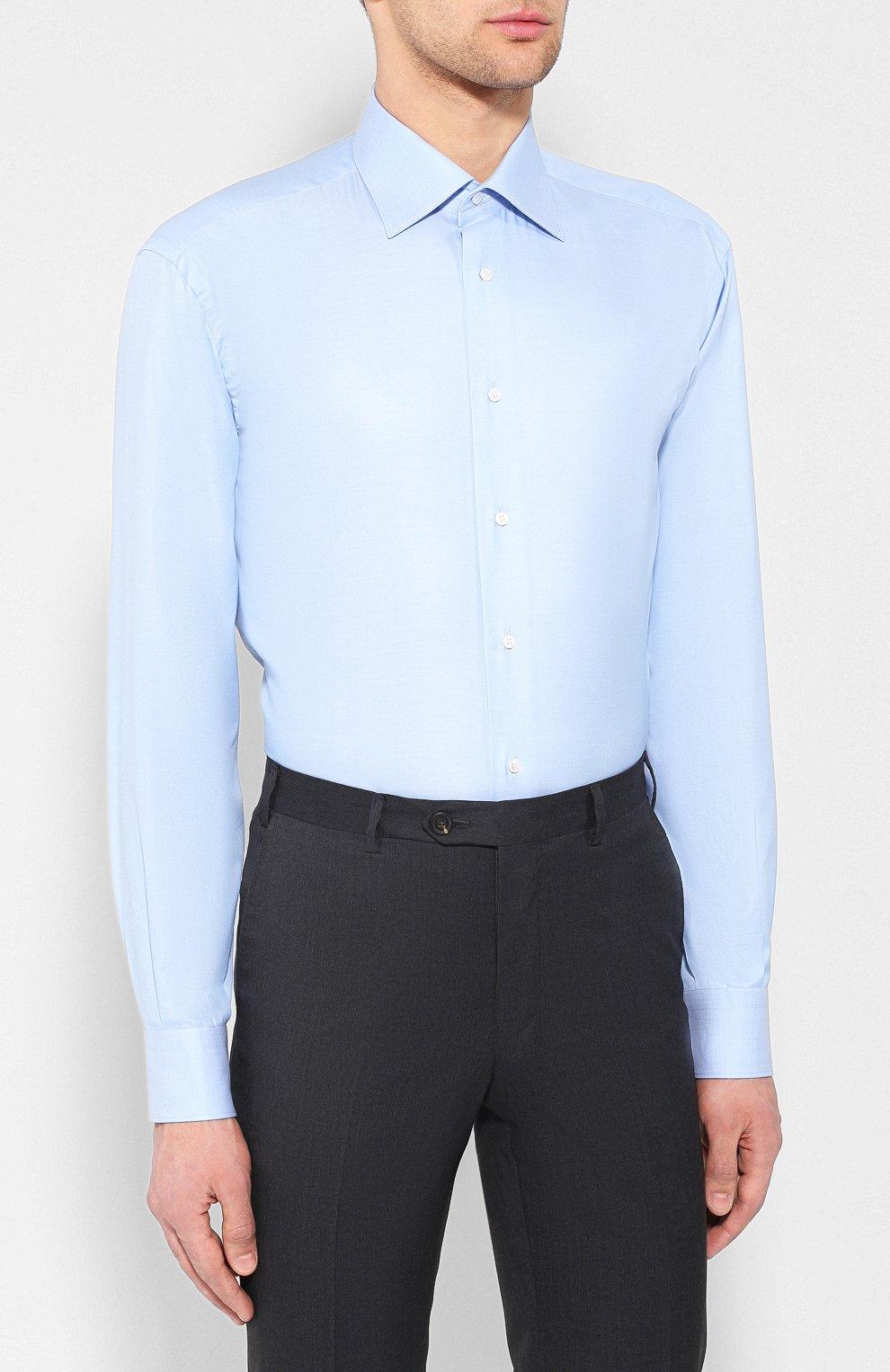 Мужская хлопковая сорочка BRIONI голубого цвета, арт. RCL42G/PZ023 | Фото 3