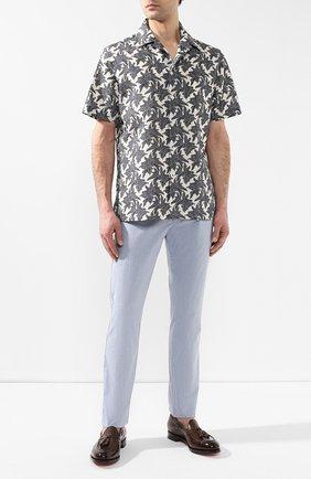 Мужская рубашка из смеси хлопка и льна BRIONI серого цвета, арт. SCAT0L/P8127 | Фото 2