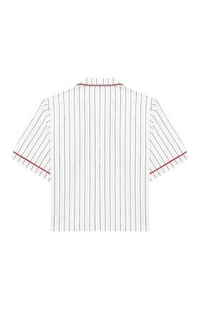 Детская хлопковая рубашка DOLCE & GABBANA белого цвета, арт. L42S90/FB5M0/2-6 | Фото 2 (Материал внешний: Хлопок; Статус проверки: Проверена категория; Случай: Повседневный; Принт: С принтом; Рукава: Короткие; Ростовка одежда: 2 года | 92 см, 3 года | 98 см, 4 года | 104 см, 5 лет | 110 см, 6 лет | 116 см)