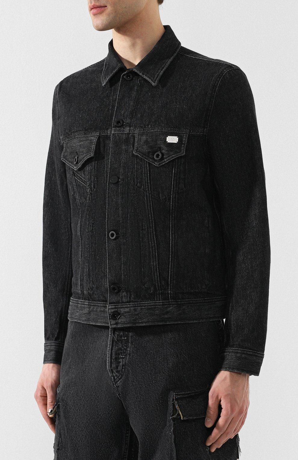 Джинсовая куртка Diesel черная   Фото №3