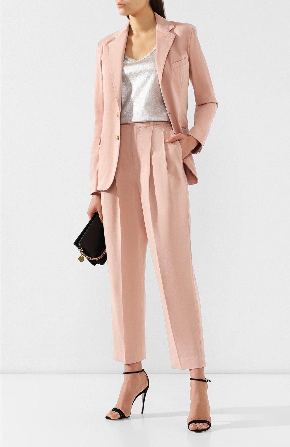 Женские хлопковые брюки POLO RALPH LAUREN розового цвета, арт. 211744940   Фото 2