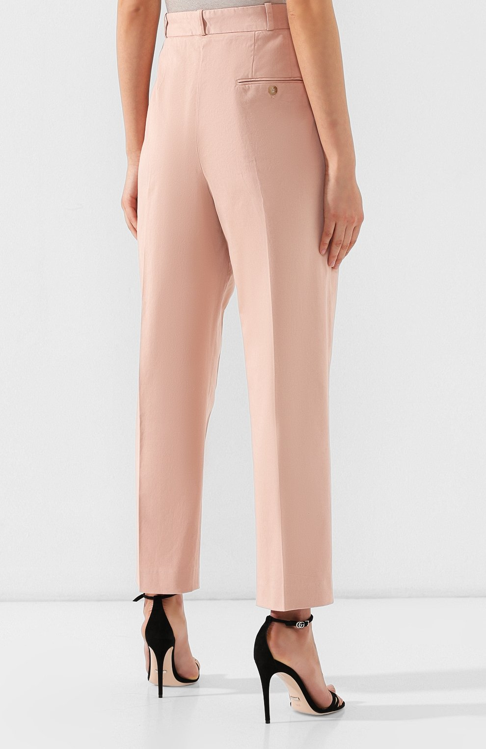 Женские хлопковые брюки POLO RALPH LAUREN розового цвета, арт. 211744940   Фото 4