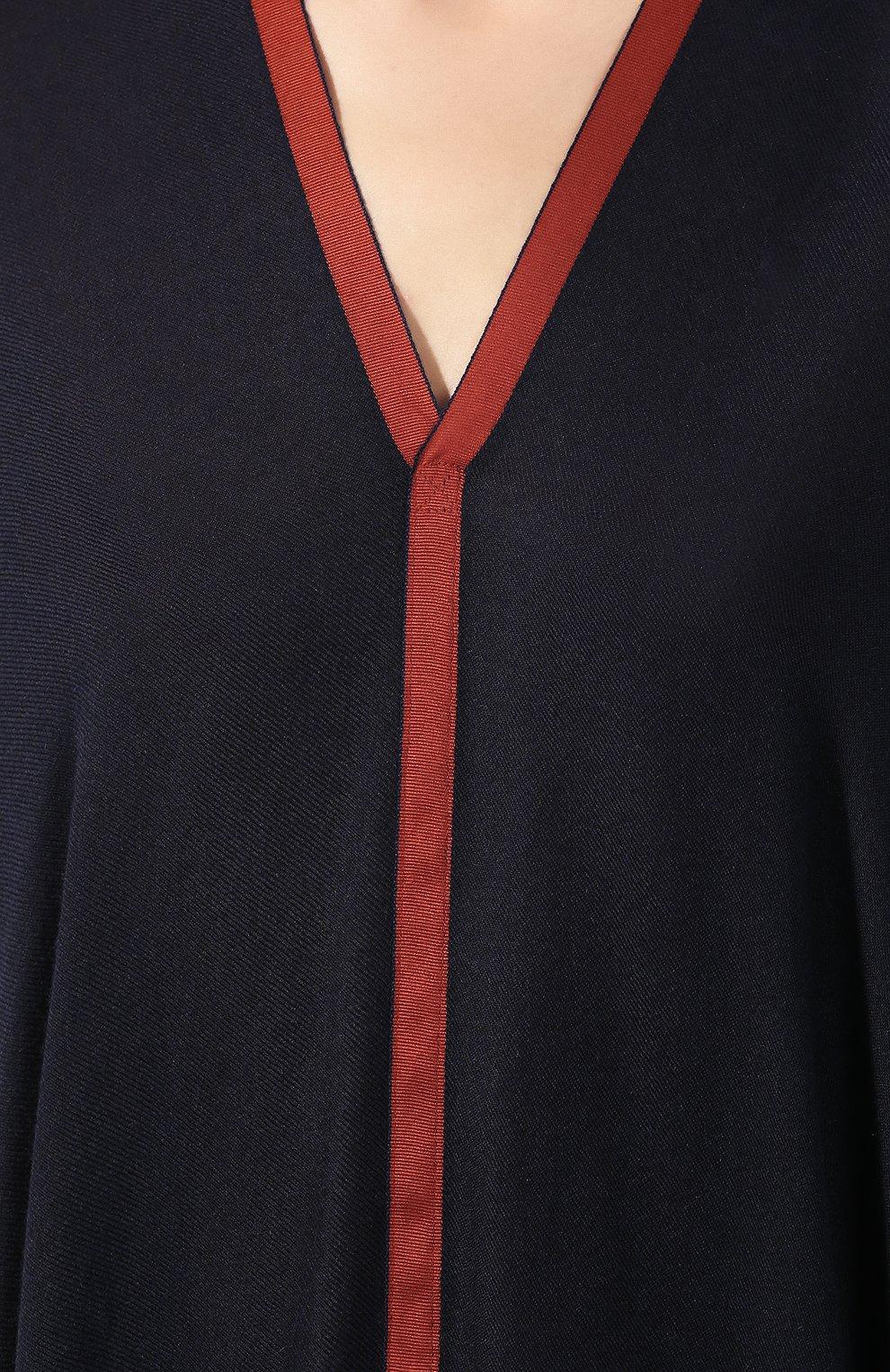 Накидка из смеси шелка и кашемира Loro Piana темно-синяя   Фото №5