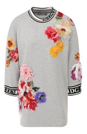 Женский хлопковый пуловер DOLCE & GABBANA светло-серого цвета, арт. F9E14Z/FU7DU | Фото 1