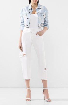Женские джинсы с потертостями FORTE DEI MARMI COUTURE белого цвета, арт. FDMC SS19 6239 | Фото 2