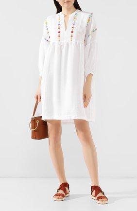 Женское льняное платье 120% LINO белого цвета, арт. P1W40EE/F696/000   Фото 2