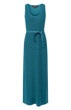 Женское платье с поясом LORO PIANA бирюзового цвета, арт. FAI5305 | Фото 1