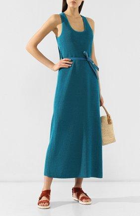 Женское платье с поясом LORO PIANA бирюзового цвета, арт. FAI5305 | Фото 2