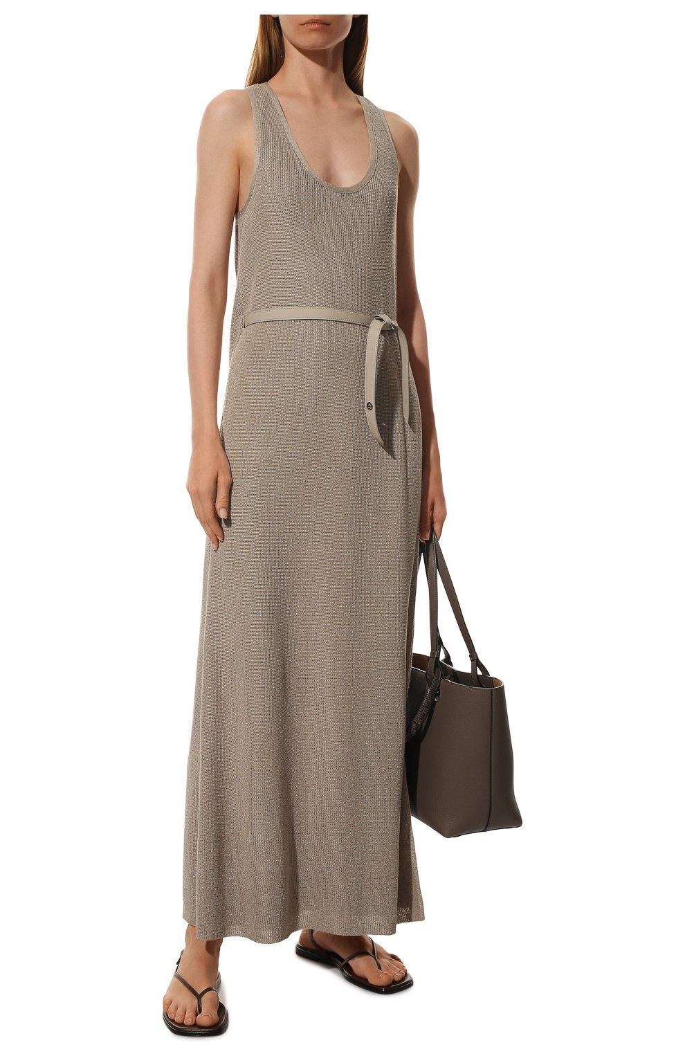 Платье с поясом Loro Piana бежевое | Фото №2
