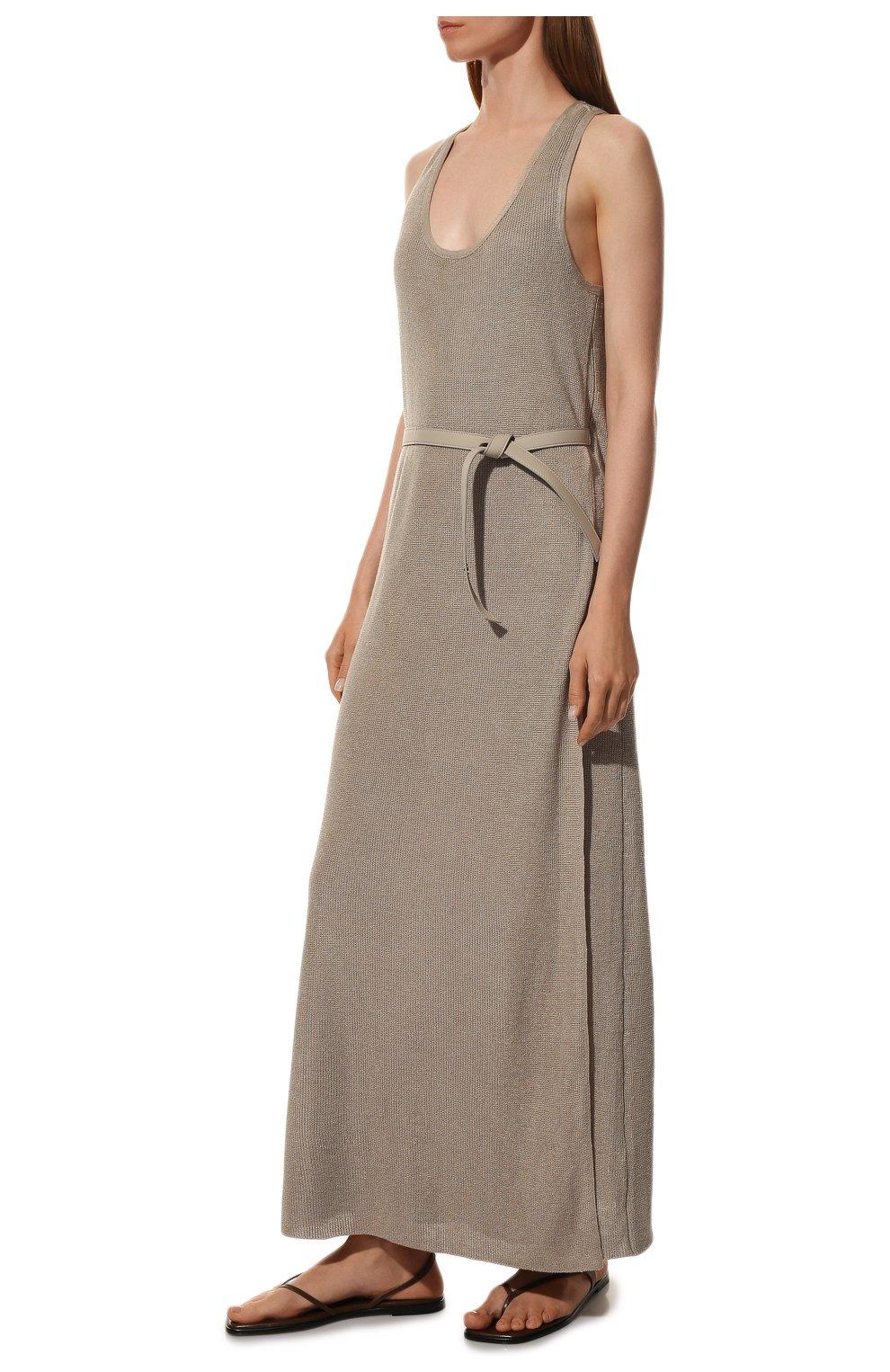 Платье с поясом Loro Piana бежевое | Фото №3