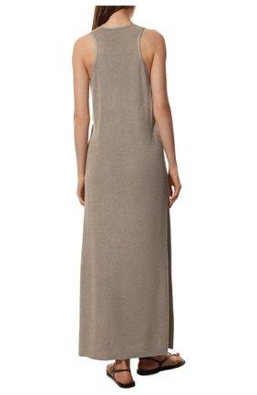 Платье с поясом Loro Piana бежевое | Фото №4