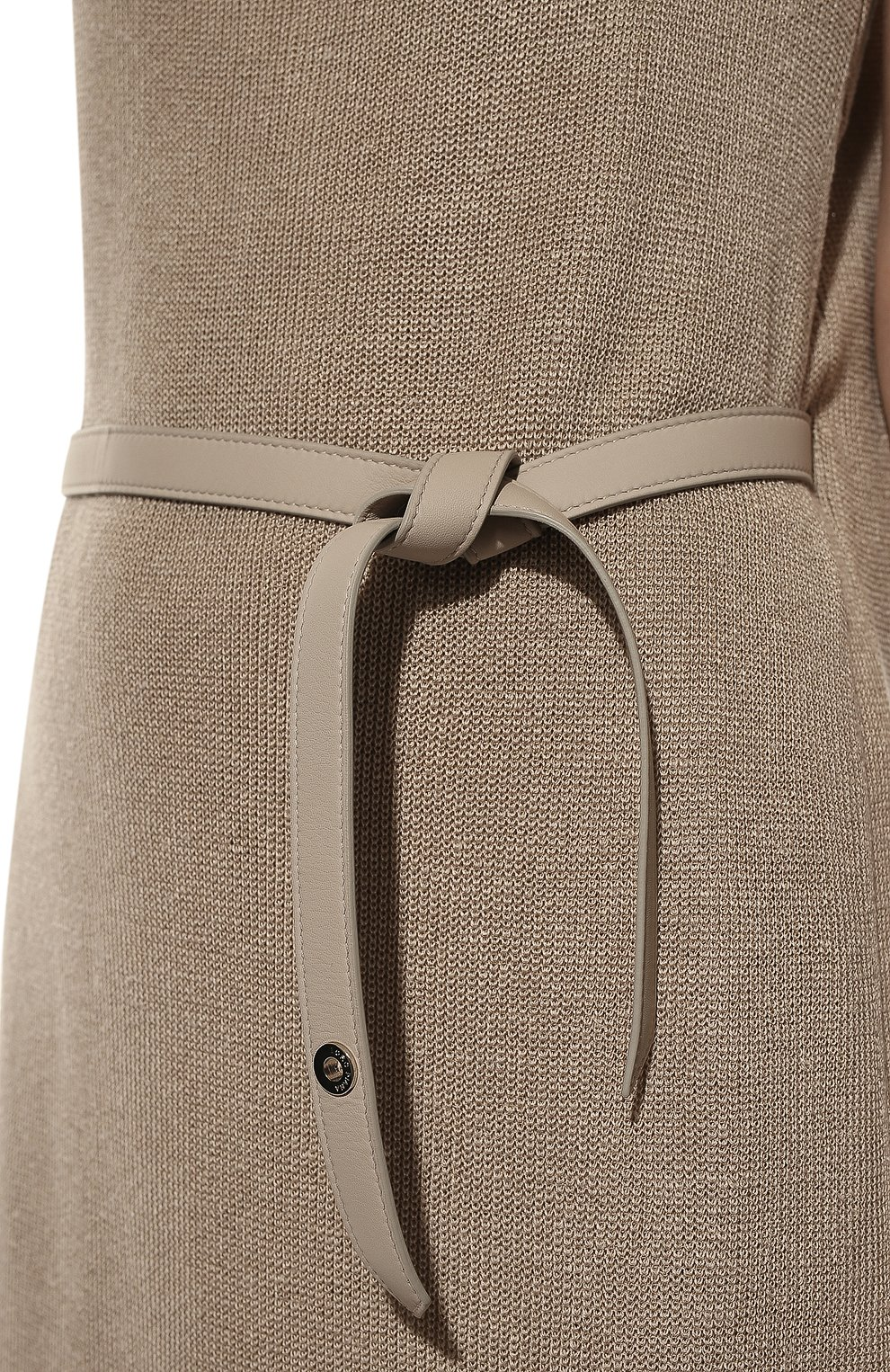 Платье с поясом Loro Piana бежевое | Фото №5
