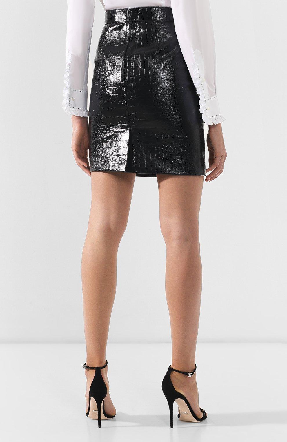 0a91c1605d4 Женская черная кожаная юбка GUCCI — купить за 143500 руб. в интернет ...