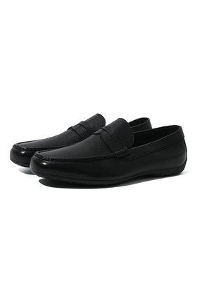 Мужские кожаные мокасины MORESCHI черного цвета, арт. 90041969 | Фото 1