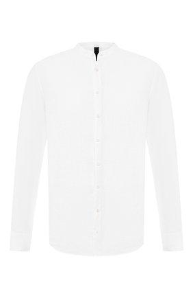 Льняная рубашка с воротником мандарин   Фото №1