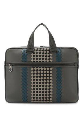 Мужская кожаная сумка для ноутбука BOTTEGA VENETA серого цвета, арт. 548030/VBM92 | Фото 1