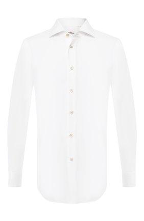 Мужская хлопковая рубашка KITON белого цвета, арт. UCIH0682201 | Фото 1
