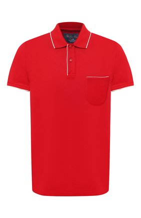 Мужское хлопковое поло LORO PIANA красного цвета, арт. FAI0485 | Фото 1