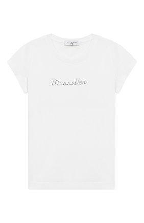 Детская хлопковая футболка MONNALISA белого цвета, арт. 17CTSH | Фото 1