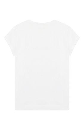 Детская хлопковая футболка MONNALISA белого цвета, арт. 17CTSH | Фото 2