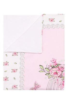 Детского хлопковое одеяло MONNALISA розового цвета, арт. 353006   Фото 1