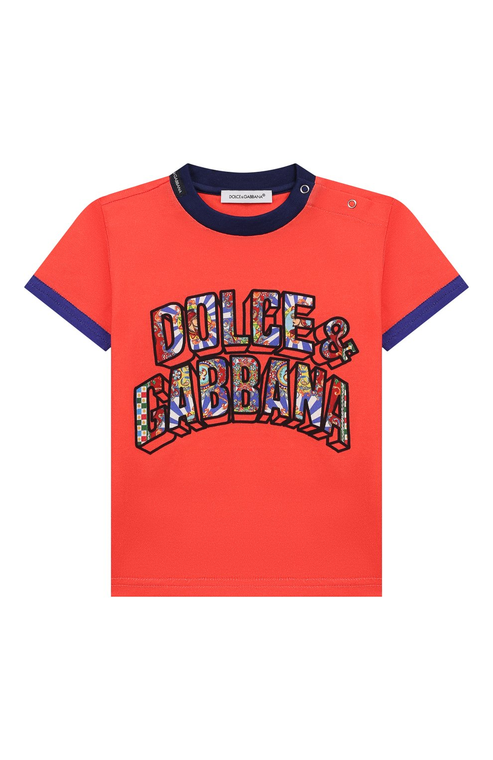 Детский хлопковая футболка DOLCE & GABBANA красного цвета, арт. L1JT8E/G7SEZ | Фото 1 (Рукава: Короткие; Материал внешний: Хлопок; Статус проверки: Проверено)