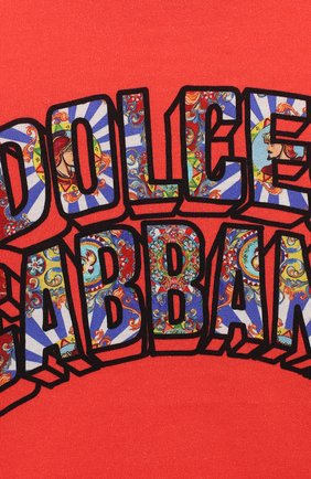 Детский хлопковая футболка DOLCE & GABBANA красного цвета, арт. L1JT8E/G7SEZ | Фото 3 (Рукава: Короткие; Материал внешний: Хлопок; Статус проверки: Проверено)