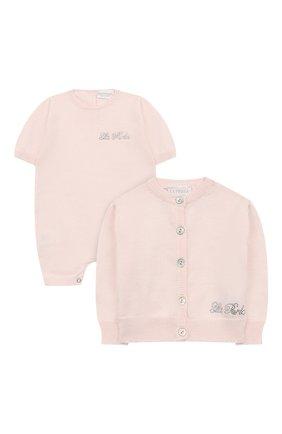 Детского комплект из хлопкового комбинезон и кардигана LA PERLA розового цвета, арт. 48580H | Фото 1