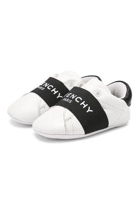 Детского кожаные пинетки GIVENCHY черно-белого цвета, арт. H99015 | Фото 1