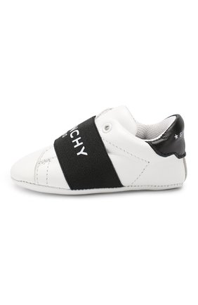 Детского кожаные пинетки GIVENCHY черно-белого цвета, арт. H99015 | Фото 2