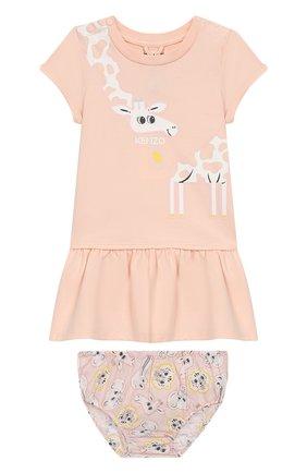 Женский комплект из хлопкового платья и шорт KENZO светло-розового цвета, арт. KN30013/2A | Фото 1