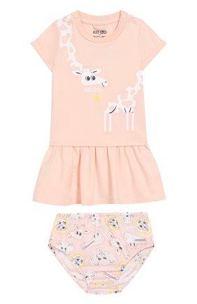 Женский комплект из хлопкового платья и шорт KENZO светло-розового цвета, арт. KN30013/6M-18M | Фото 1
