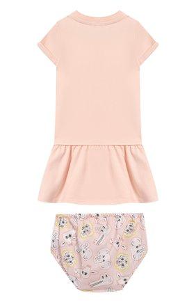 Женский комплект из хлопкового платья и шорт KENZO светло-розового цвета, арт. KN30013/6M-18M | Фото 2