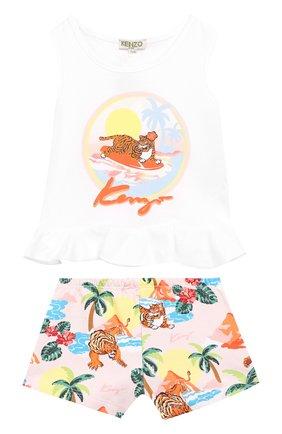 Детский комплект из хлопкового топа и шорт KENZO разноцветного цвета, арт. KN37017/2A | Фото 1