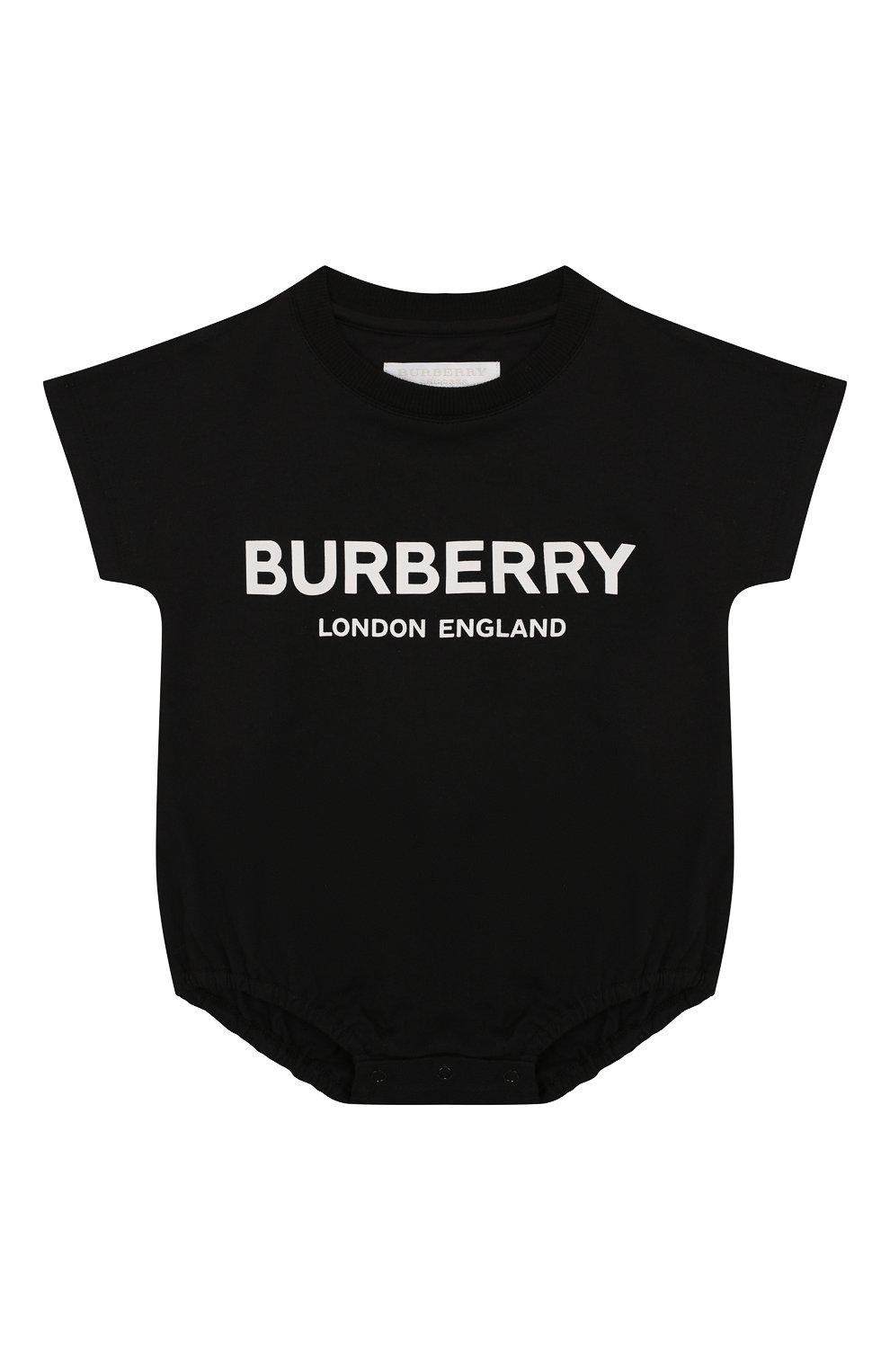 Детское комплект из 4-х хлопковых предметов BURBERRY черно-белого цвета, арт. 8009332   Фото 2