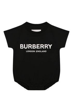 Детское комплект из 4-х хлопковых предметов BURBERRY черно-белого цвета, арт. 8009332 | Фото 2