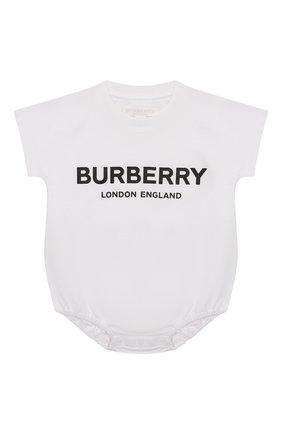 Детское комплект из 4-х хлопковых предметов BURBERRY черно-белого цвета, арт. 8009332   Фото 4