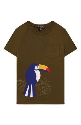 Детская хлопковая футболка LORO PIANA хаки цвета, арт. FAI4833 | Фото 1