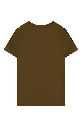 Детская хлопковая футболка LORO PIANA хаки цвета, арт. FAI4833 | Фото 2