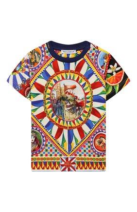 Детский хлопковая футболка DOLCE & GABBANA разноцветного цвета, арт. L1JT7W/G7SFB | Фото 1