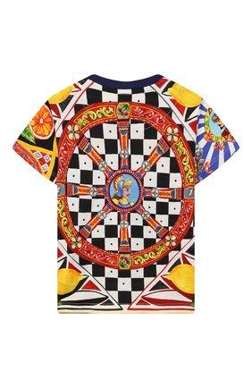 Детский хлопковая футболка DOLCE & GABBANA разноцветного цвета, арт. L1JT7W/G7SFB | Фото 2