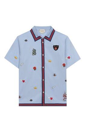 Детская хлопковая рубашка GUCCI голубого цвета, арт. 540732/XWABA | Фото 1