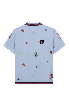 Детская хлопковая рубашка GUCCI голубого цвета, арт. 540732/XWABA | Фото 2